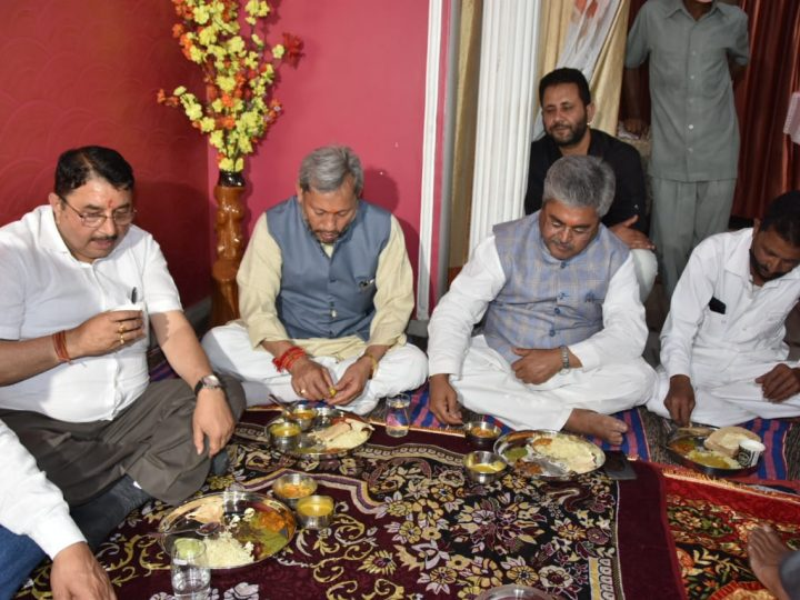 On Ambedkar Jayanti, CM Tirath Ate Food In Dalit Family